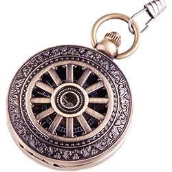 Pocket Watch Classic Skeleton Mechanical Movement Hand Wind Roman Numeral Wheel Motif Half Hunter PW-68