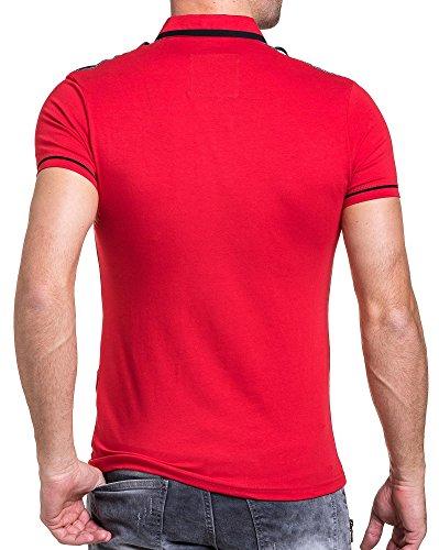 BLZ jeans - Polo rot stilvoller Mann mit Reißverschluss Rot