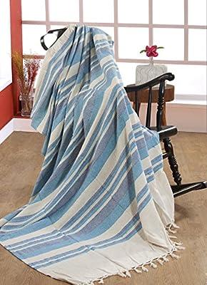 EHC 250 x 250 cm Cotton Stripe Giant 3 or 4-Seater Sofa/King Size Bed Throw - Parent