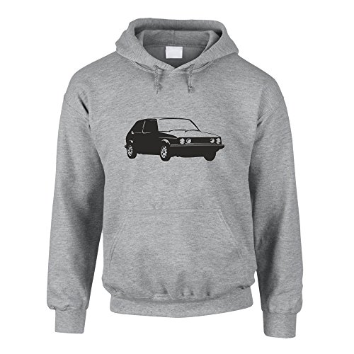 Shirtdepartment Hoodie Auto Golf 1 Kapuzenpullover Kult Volk Sweater PKW, grau-schwarz, M