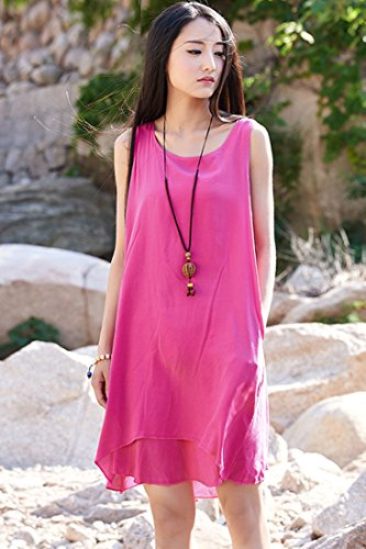 ACHICGIRL Women's Sweet Solid Sleeveless Linen Midi Dress Blue