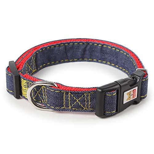 WLDOCA Verstellbares Hundegeschirr, Kleine und mittelgroße, Abriebfeste Denimnähte für Hunde, Mittelgroßer großer Brustgurt für Hunde,Rot,2.5cm