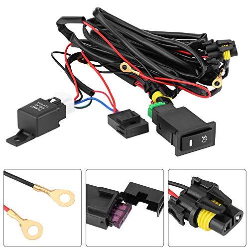 Kit cablaggio fendinebbia - 12V Cablaggio on/off interruttore universale fari fari LED per auto, kit relè fusib