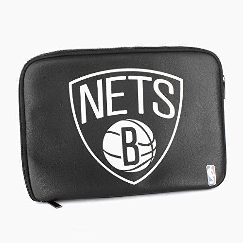 Mitchell & Ness Hochwertige NBA Leder-Laptoptaschen, Größe:13 Zoll (36cm x 26cm);Farbe:Brooklyn Nets