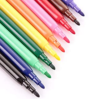 White Hinge 20x Mixed Colour Fine Fibre Felt Tip Colouring Marker Pens
