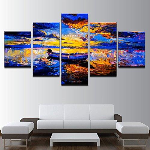 Design PT Leinwand Gemälde Wohnzimmer Modulare Wand Kunst Rahmen 5 Stück Abstrakte Schiff Sea View Poster Print Sonnenuntergang Boot Bilder Wohnkultur, 30x40 30x60 30x80cm, Rahmen