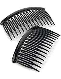 Ladies 2pk Shiny Black Hair Tooth Side Comb Set 8cm Wide
