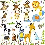 OOTSR Fenstersticker Tiere des Dschungels - Affen greifen nach dem Mond Wandtattoo, Bär Zebra Fensteraufkleber Blumen Deko für Fenster Flur Küche Kinderzimmer Wohnzimmer (3 großes Blatt,...