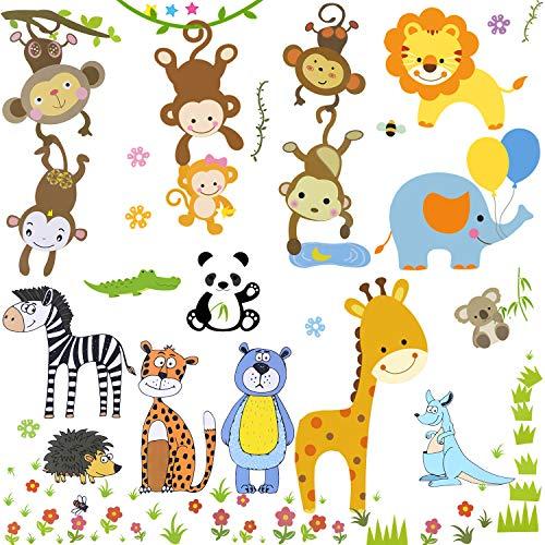 OOTSR Fenstersticker Tiere des Dschungels - Affen greifen nach dem Mond Wandtattoo, Bär Zebra Fensteraufkleber Blumen Deko für Fenster Flur Küche Kinderzimmer Wohnzimmer (3 großes Blatt, 30x40cm)