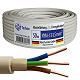 50m NYM-J 3x1,5 mm² Mantelleitung Elektro Strom Kabel OFC MADE IN GERMANY, Model 7343