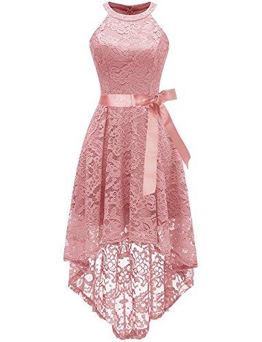 Damen Neckholder Kleider aus Spitze Cocktailkleid Abendkleider Ballkleid Brautjungfernkleider...