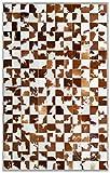 Sunshine Cowhides Teppich aus Kuhfell Patchwork, Farbe: Weiß und Braun, Premium - Qualität von Pieles Del Sol aus Spanien (180 x 240 cm)