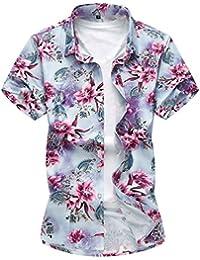 YOUTHUP Mens Hawaiian Shirt Funky Short Sleeves Casual Flower Pattern Holiday Beach Shirts