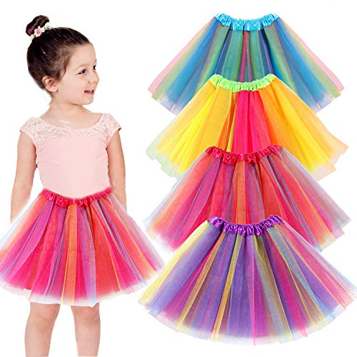 vamei 4 Stück Tüllrock Mädchen Tütü Kinder Prinzessin Ballettrock Pettiskirt Tutu Rock Regenbogen Minirock für Halloween Party Karneval