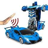 TEEPAO - Telecomando, rilevatore di Gesto, Un Pulsante di deformazione RC Auto 1:14 Rapporto Simulazione Corsa Supercar Modello Bambini Transformers Robot Auto Dual Mode Stunt Car 03