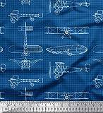 Soimoi Blau Baumwoll-Popeline Stoff Check & Flugzeug