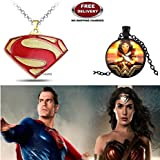 (2 Pcs COMBO SET) - SUPERMAN ( GOLD PLATED ) & WONDER WOMAN (BLACK) 3D GLASS DOME IMPORTED PENDANTS WITH CHAIN. LADY HAWK DESIGNER SERIES 2018. ❤ ALSO CHECK FOR LATEST ARRIVALS - NOW ON SALE IN AMAZON - RINGS - KEYCHAINS - NECKLACE - BRACELET &