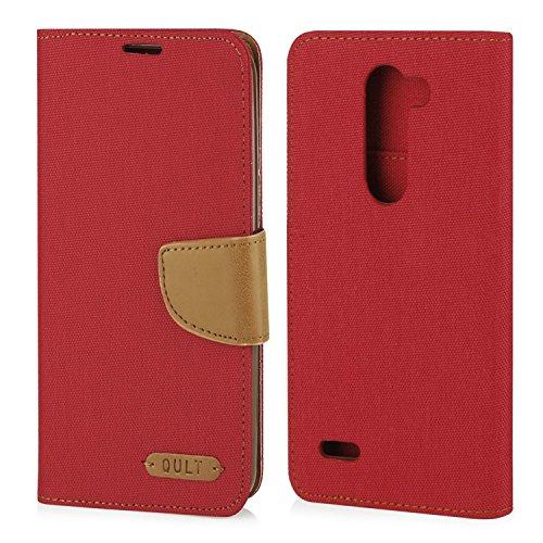 Stylisches Bookstyle Handytasche Flip Case für LG X Mach (K600) - Handy Schutz Hülle Etui Schale Cover Book Case rot-braun