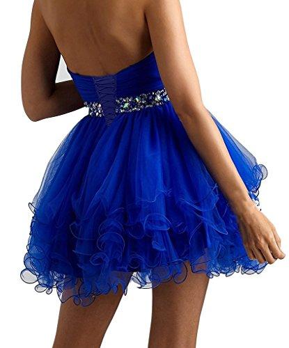 HUINI Strapless kurz Abendkleid T¨¹ll Cocktailkleid Miniabend -Kleid Backless Partei-Kleid Blau