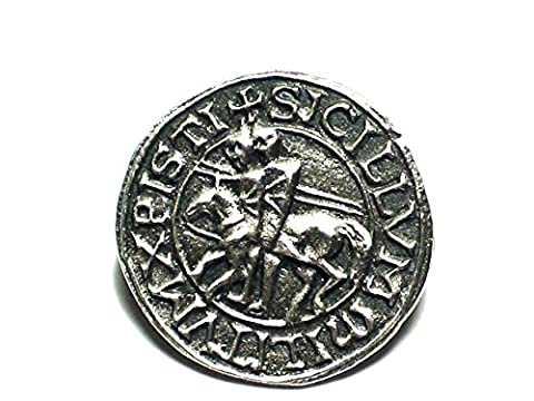 Knights Templar Seal Pewter Pin Badge. Poor fellow soldiers of Christ.