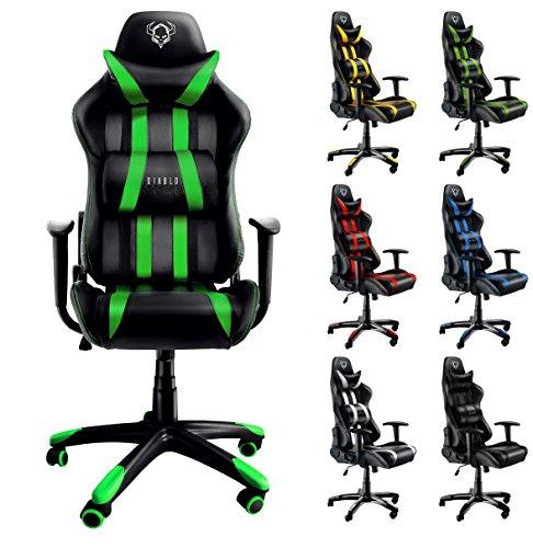 Diablo X-One silla de gaming silla de oficino, silla de escritorio (negro-verde)