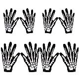 Lvcky 4 Pares de Guantes de Esqueleto para Halloween, Color Blanco y Negro, con Calavera, Accesorio para Disfraz de Fantasma para Adultos y niños