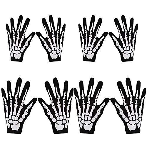 (Lvcky 4Paar Halloween schwarz Totenkopf Skelett-Handschuhe weiß Fancy Dress Accessory Ghost Knochen für Erwachsenen und Kind Halloween Dance Party Kostüm Handschuhe)
