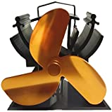 12.5cm Height Heat Powered Stove Fan for Small Space Wood / Log Burner - Eco Friendly (Gold)