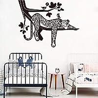 zzlfn3lv Cartoon Leopard Safari Tree Wall Decal Baby Nursery Forest Jungle Leopard Animal Branch Bird Wall Sticker Bedroom Playroom Vinyl 56 * 43cm