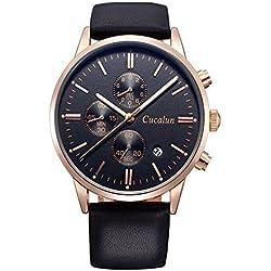 Men's Quartz Wristwatch Soft Leather Band Stainless Steel Case Waterproof Business Wristwatch