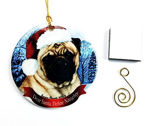 Hund Weihnachten Ornament 7,6cm Porzellan mit Geschenkbox mit Baum Haken und Magnet Pet Urlaub Dekoration Bundle von Impressum Plus (Ho 001) Pug (Fawn)