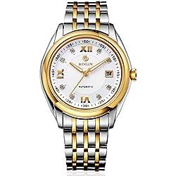 binlun Herren Automatik Uhr Edelstahl großes Gesicht Uhren für Männer mit Datum (Golden)