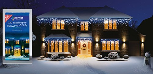 Christmas Lights Snowing Icicles Multi Action Xmas Decor 720 LED Ice White