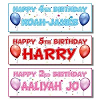 2 Personalised Birthday Banners - Single Balloon Design - Any Name & Any Age (Approx 3ft x 1ft) (Blue)