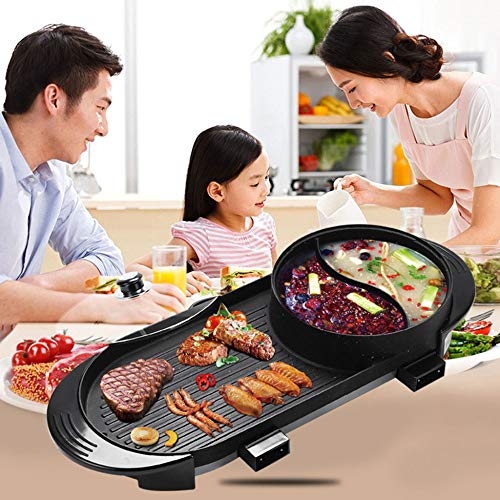 Elektrogrill, Multifunktions-Zwei-in-Eins-Elektrik Smokeless Antihaft-Grill Gegrillte Shabu-Shabu-Backform Smokeless Barbecue 1800W