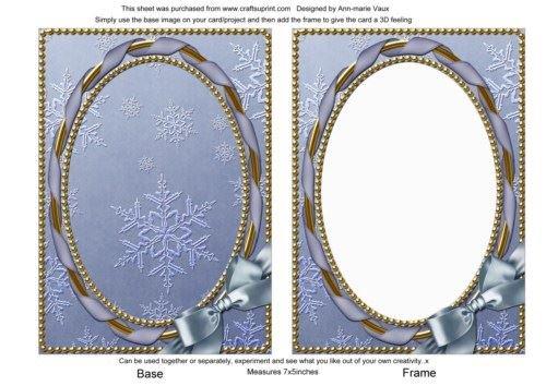 Blu fiocco di neve decorato, 17,8x 12,7cm, carta semplice anteriore e telaio da ann-marie Vaux