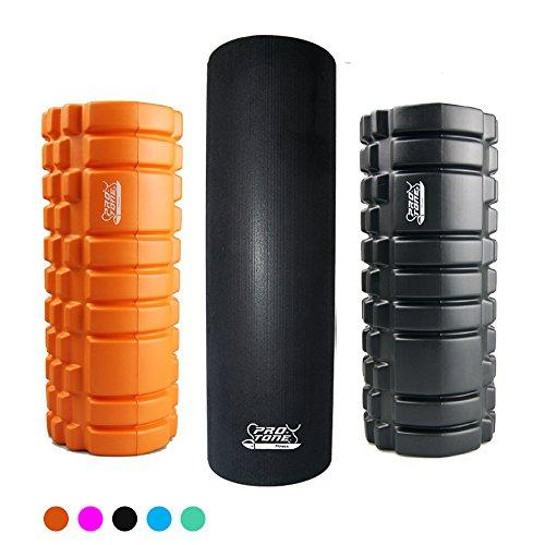 Bodycore Fitness - Rodillo de Espuma 'Pro-Tone' para Masaje Estimulante y de Puntos de Presión para Terapia, Masaje, Yoga, Pilates, Crossfit y Tratamientos de Rehabilitación (Negro Liso)
