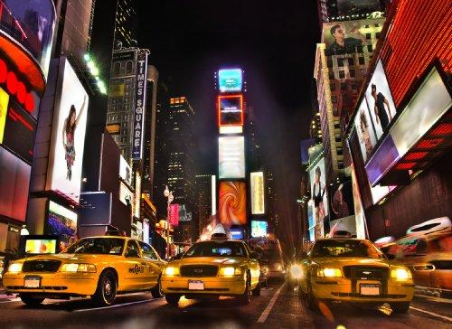 Papier Peint Photo Mural Self Adhesive- NEW YORK (08) - 272x198cm 8 parties - Autocollant - très facile à appliquer, repositionnable, enlever et remettre en place - Poster Geant XXL USA Times Square Taxis Jaune Manhattan État-Unis Ville Nature Paysage Cuisine Chambre Lit Enfant Salon