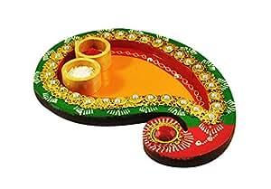 Indian handicraft Gift Handmade MDF/Wooden Pooja Thali/Plate Set (Kairi Shape)