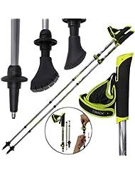 Alpidex Bastones plegables de marcha nórdica TIMOK Vario en carbono ajustables 105-125 cm ultraligerospalos de trekking polo de manera plegable