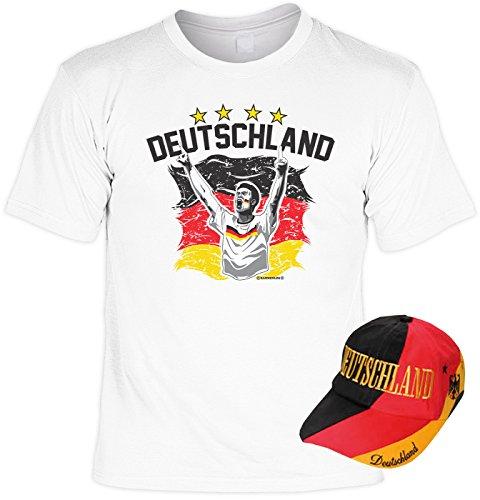 Fun Fussball Set Shirt für Männer und Frauen Deutschland Europameister Nationalmanschaft Bayern Deutschland Capi Weiß