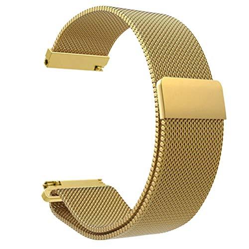 JiaMeng para Xiaomi MI Banda, Moda de Correa de Banda de Reloj de Pulsera de Acero Inoxidable para Reloj Xiaomi Amazfit Bip(Oro,tamaño Libre)