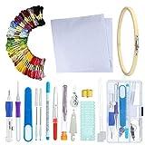 leegoal Stickerei-Stift-Kit, Magic Stickerei-Locher-Nadel, Handwerkzeug-Stickerei-Stift-Set für DIY Strickmuster Stickerei 50 Farben Stickgarn (Bunt)