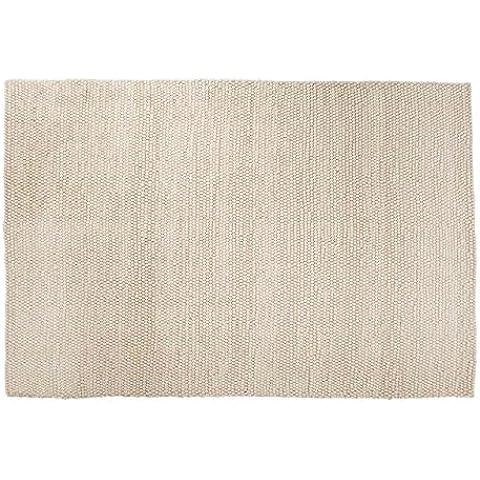 Ayush: Hermoso blanco de lana Alfombra hecha a mano en la India Comercio Justo grandes y pequeños guisantes Tamaño heno (150cm x 200cm / 4' 11'' x 6' 6.7'')