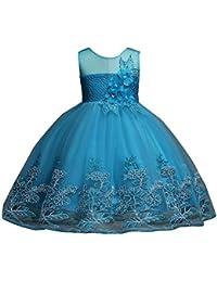 f9392a483 Guiran Niña Elegantes Encaje Vestido De Princesa Ceremonia Boda Fiesta  Bautizo Novia Cóctel Azul Cielo 2