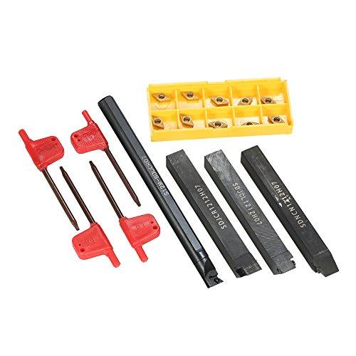 KKmoon 4pcs S12M-SCLCR06 / SDNCN1212H07 / SDJCL1212H07 / SDJCR1212H07 Barre di Drenaggio + 10pcs / Box DCMT0702 Inserti di Carburo + 4pcs Chiave del Tornio CNC