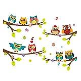 Ruiting Stickers Muraux Hibou,Autocollant Mural Chouette Colorées pour Décoration Chambre Enfant Sticker Mural Owl
