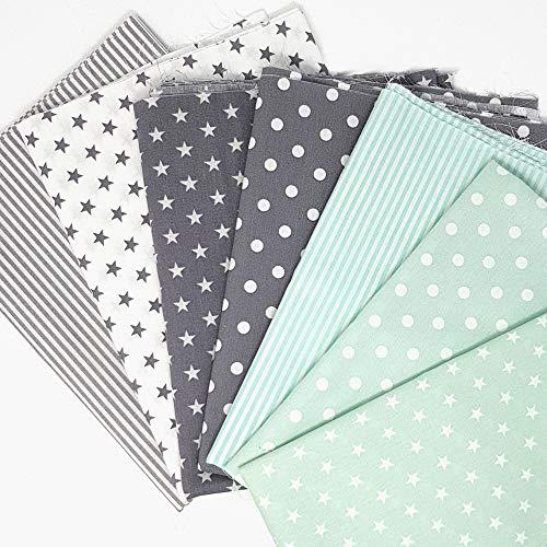 Sugarapple Baumwollstoff Stoffpaket für Patchwork DIY 7 Stücke je 50 cm x 70 cm, Stoff Mix Mint + Grau, Öko Tex Standard 100 -