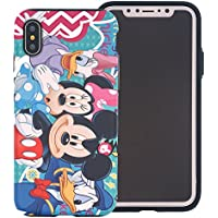 iPhone X Case [Heavy Drop Protection] DISNEY Cute Mickey Mouse and Donald Duck Layered Hybrid [TPU + PC] Bumper Cover [Shock Absorption] for Apple iPhone X - Cartoon Disney Family
