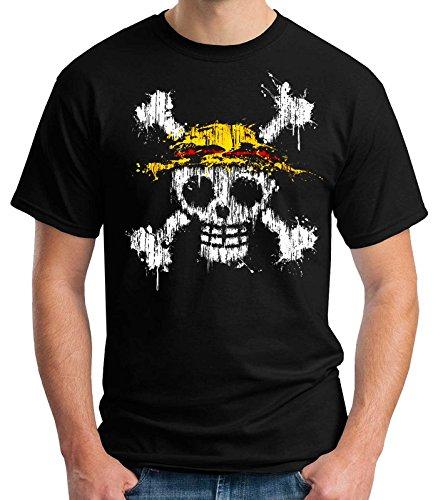 35mm - Camiseta Hombre One Piece Mancha Pintura, Negra, XL